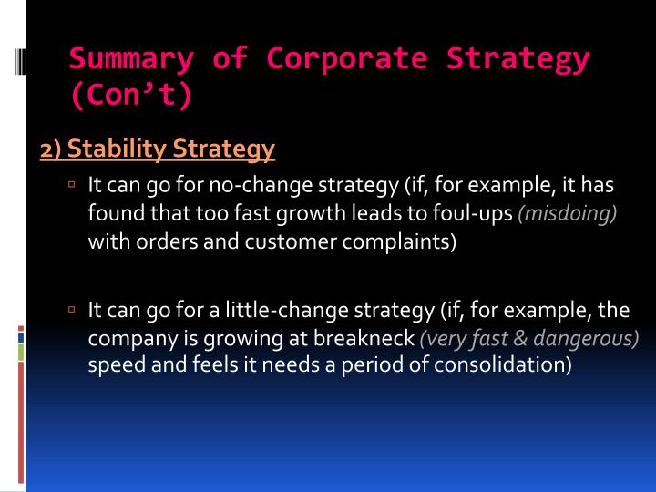 Summary of Corporate Strategy (Con't)
