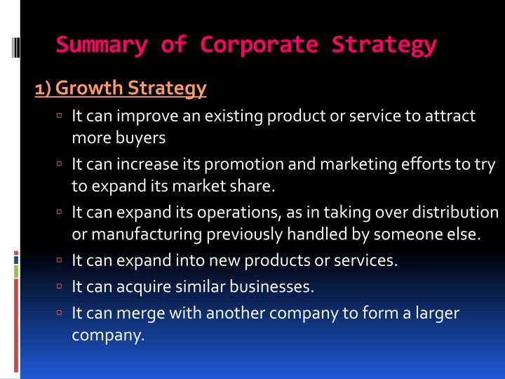 Summary of Corporate Strategy