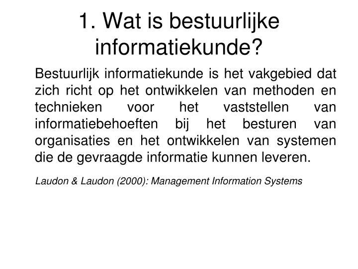 1. Wat is bestuurlijke informatiekunde?