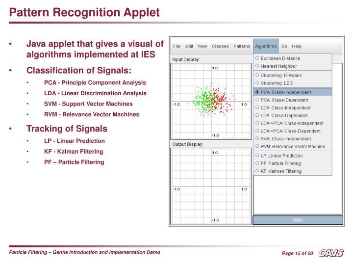 Pattern Recognition Applet