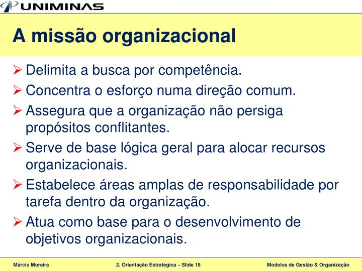 A missão organizacional