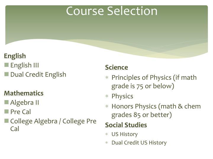 Course Selection