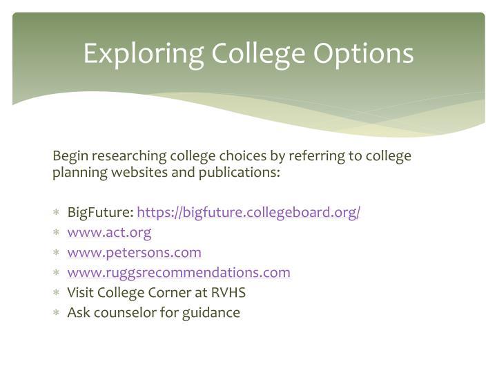 Exploring College Options