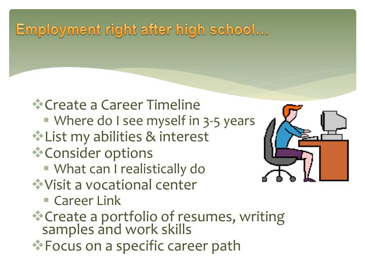 Employment right after high school…