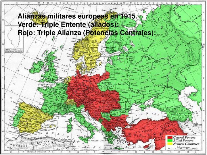 Alianzas militares europeas en 1915.