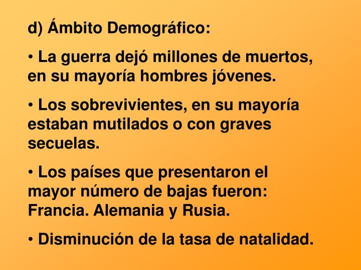 d) Ámbito Demográfico: