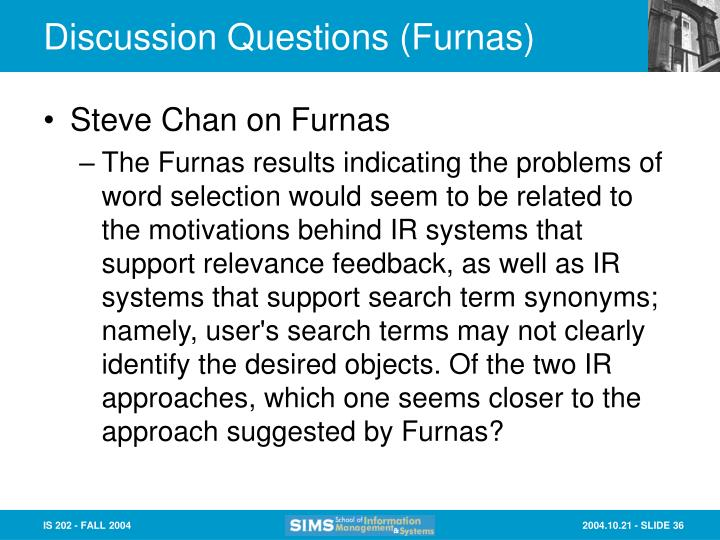 Discussion Questions (Furnas)
