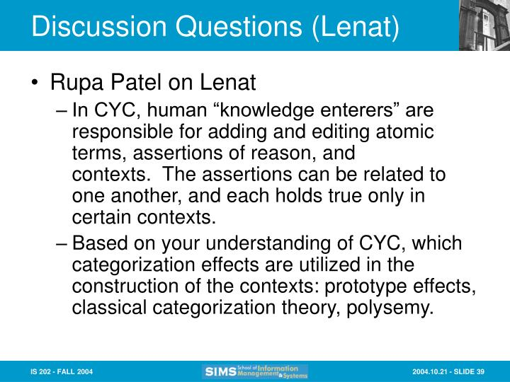 Discussion Questions (Lenat)