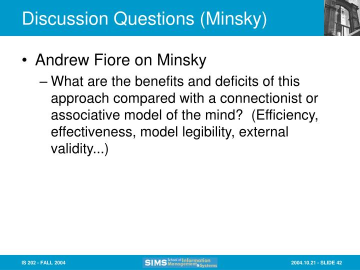 Discussion Questions (Minsky)