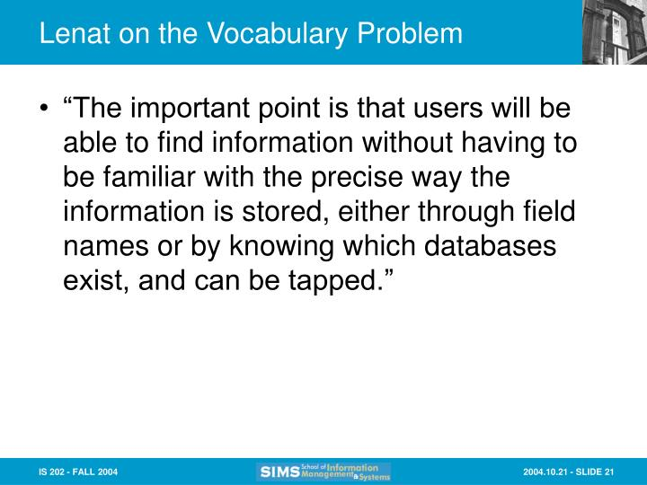 Lenat on the Vocabulary Problem