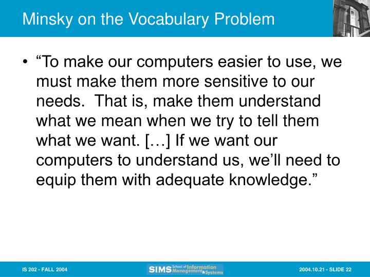 Minsky on the Vocabulary Problem