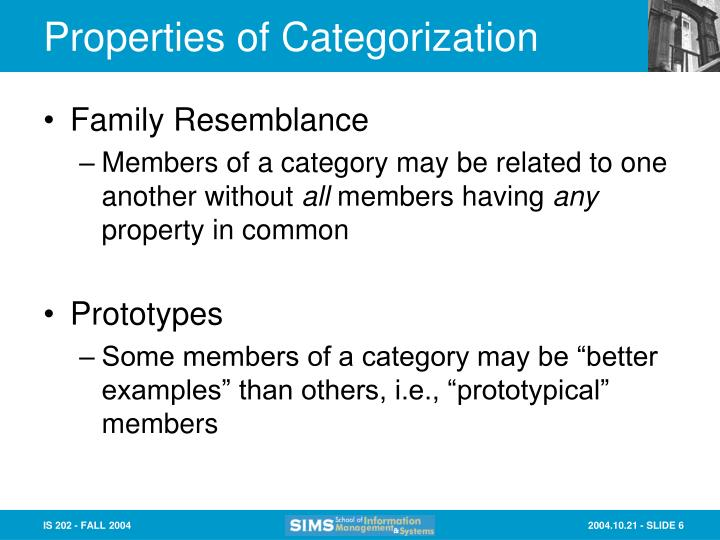 Properties of Categorization