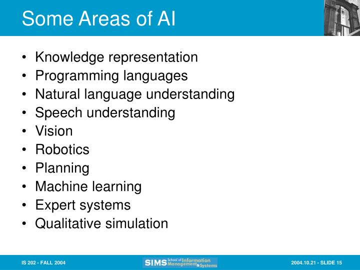 Some Areas of AI