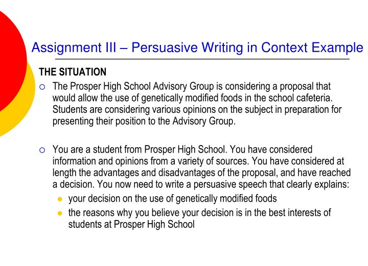 persuasive writing essay assignment Essay writing is an obligatory academic assignment, regardless of course of   for example, narrative essays tell stories from first person while persuasive or.