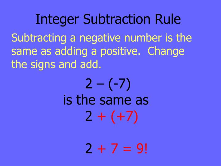 Integer Subtraction Rule