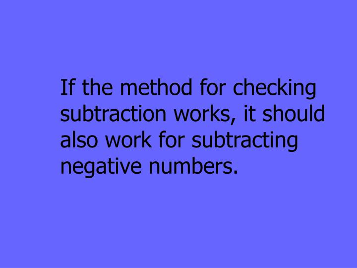 If the method for checking