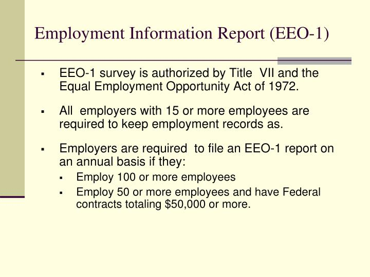 Employment Information Report (EEO-1)