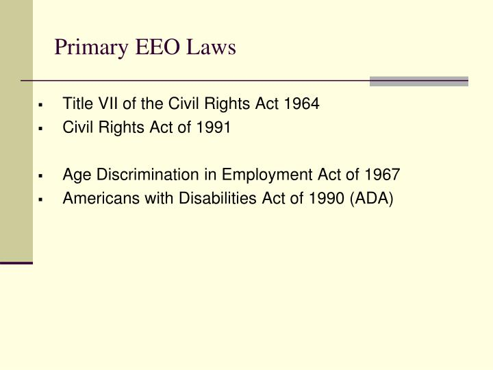 Primary EEO Laws