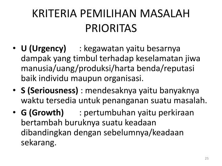 KRITERIA PEMILIHAN MASALAH PRIORITAS