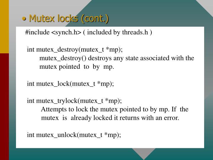 Mutex locks (cont.)