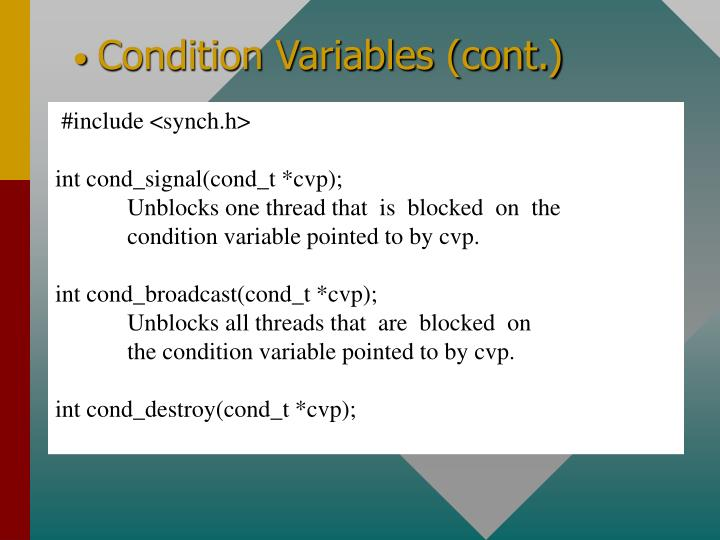 Condition Variables (cont.)