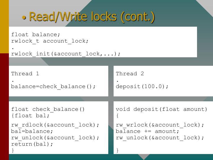 Read/Write locks (cont.)
