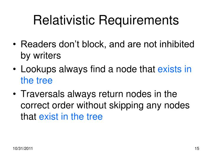 Relativistic Requirements