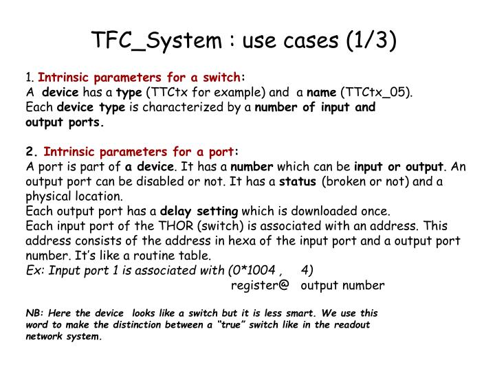 TFC_System : use cases (1/3)