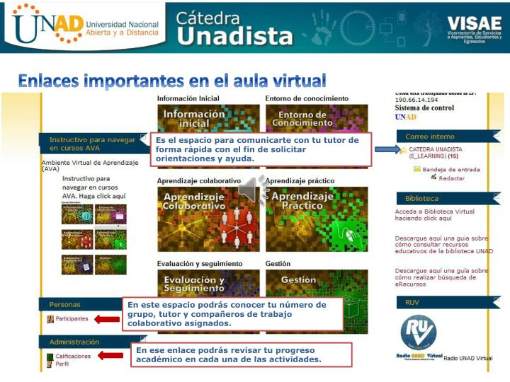 Enlaces importantes en el aula virtual