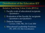 distribution of the education iet