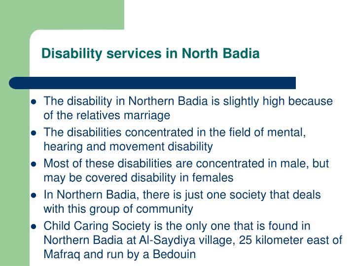 Disability services in North Badia