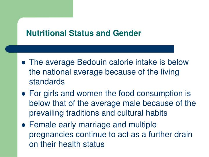 Nutritional Status and Gender