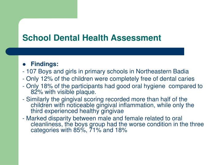 School Dental Health Assessment