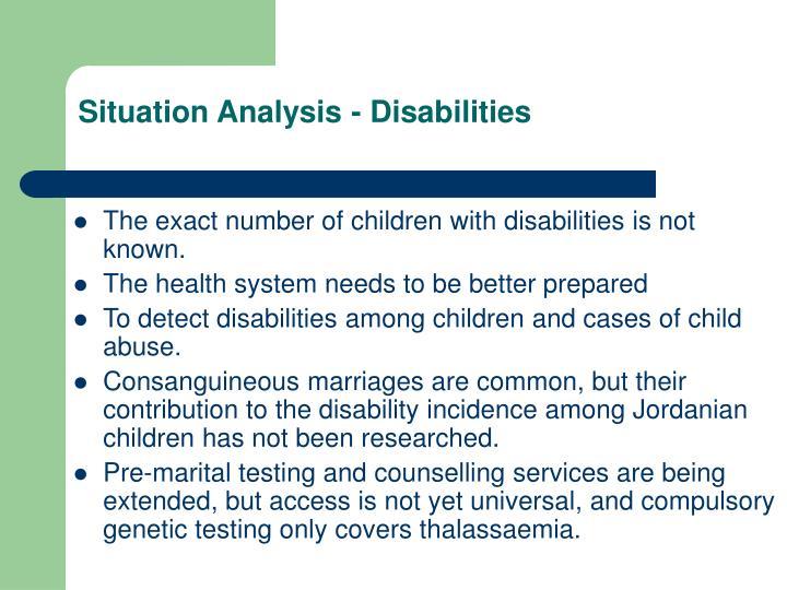Situation Analysis - Disabilities