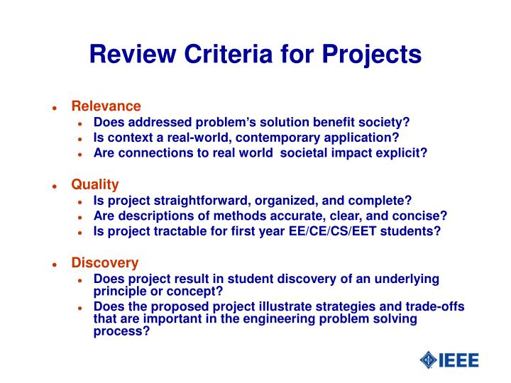 Review Criteria for Projects