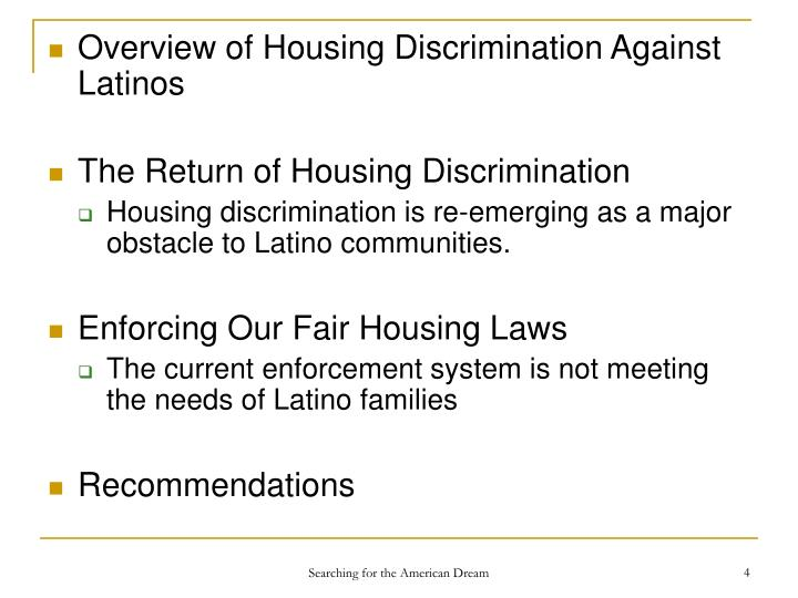 Overview of Housing Discrimination Against Latinos