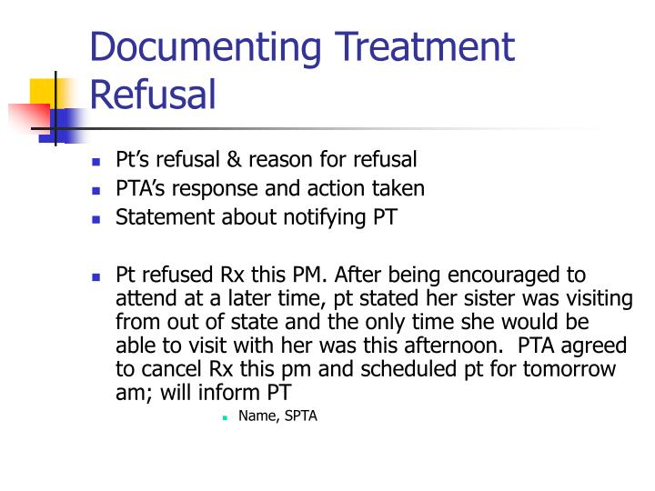 Documenting Treatment Refusal