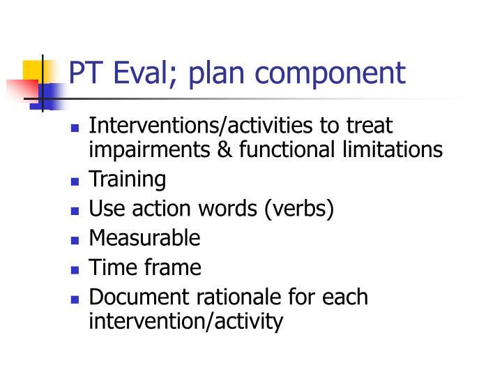 PT Eval; plan component