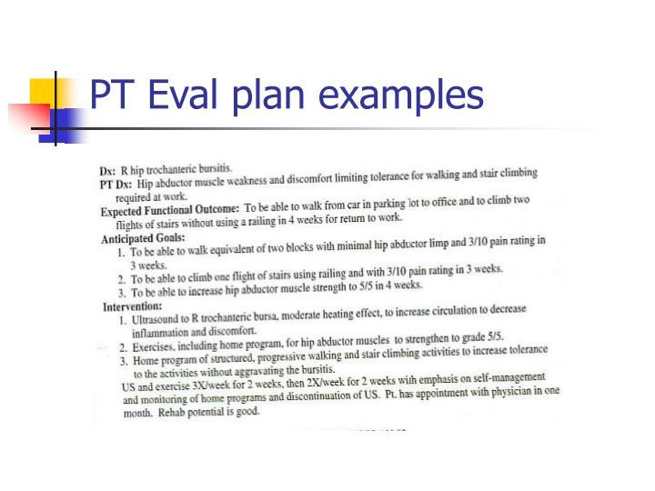 PT Eval plan examples