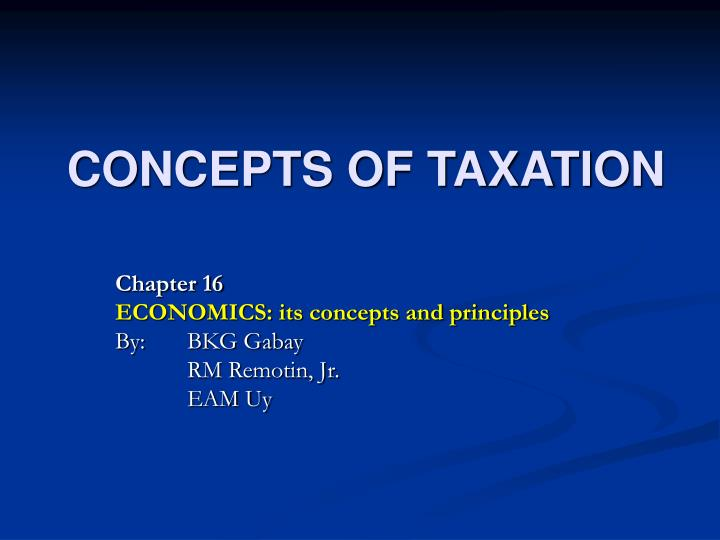 Concepts of taxation