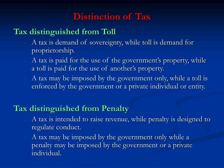 Distinction of Tax