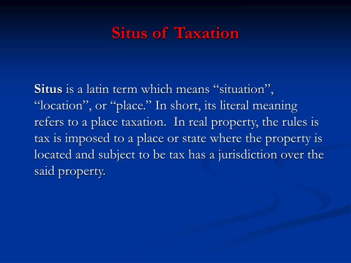 Situs of Taxation