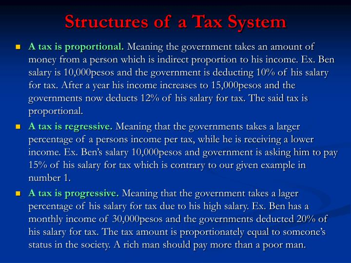 Structures of a Tax System