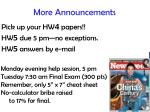 more announcements