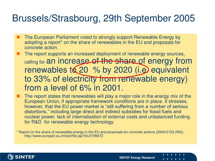 Brussels/Strasbourg, 29th September 2005