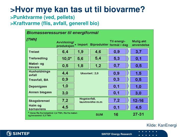>Hvor mye kan tas ut til biovarme?
