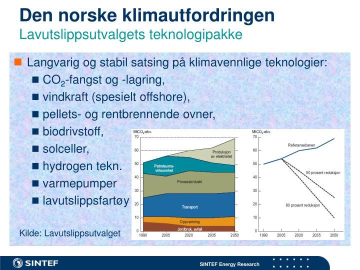 Langvarig og stabil satsing på klimavennlige teknologier:
