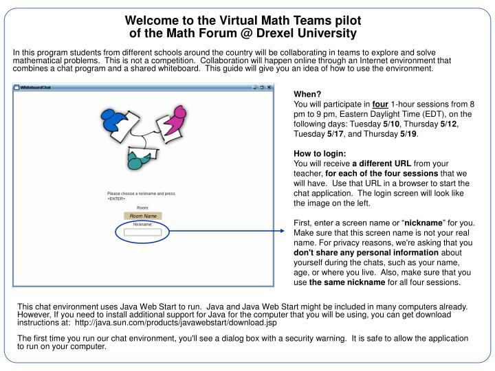 Welcome to the Virtual Math Teams pilot