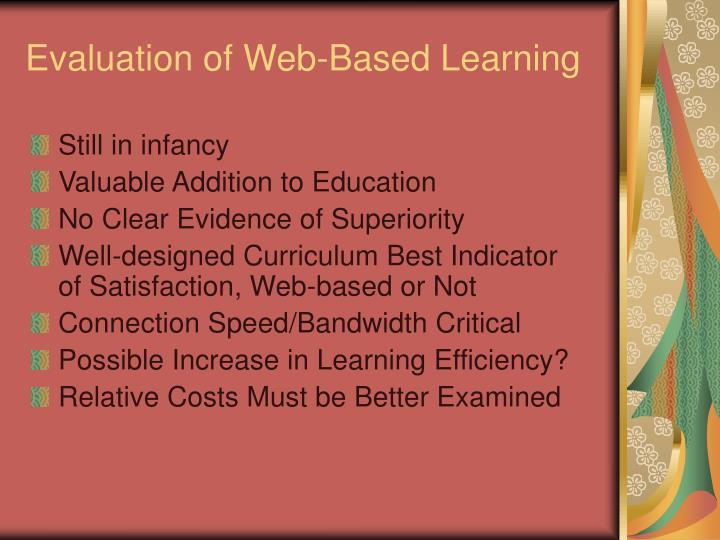Evaluation of Web-Based Learning