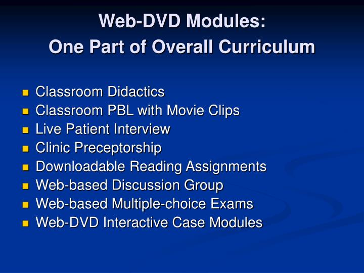 Web-DVD Modules:                           One Part of Overall Curriculum